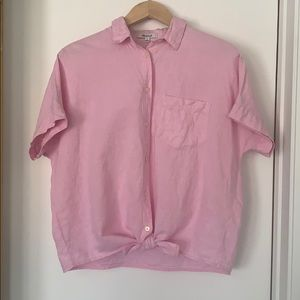 Madewell pink button down tie front top in Small